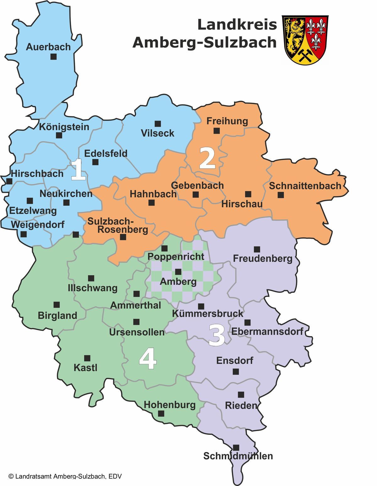 Kontrollgebiete der Veterinäre im Landkreis Amberg-Sulzbach und in der Stadt Amberg